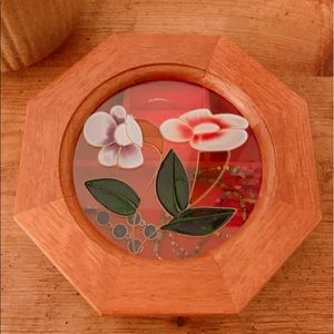 VINTAGE Jewelry Box Wooden Stained Glass